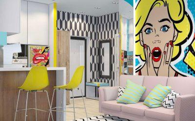 Дизайн однокомнатной квартиры 35 кв.м. в стиле поп-арт